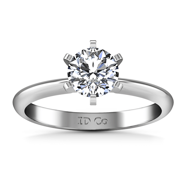 Round Diamond Solitaire Engagement Ring Classic 6 Prong 14K White Gold