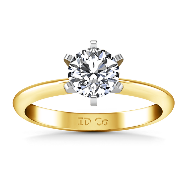 Solitaire Diamond Engagement Ring Classic 6 Prong 14K Yellow Gold