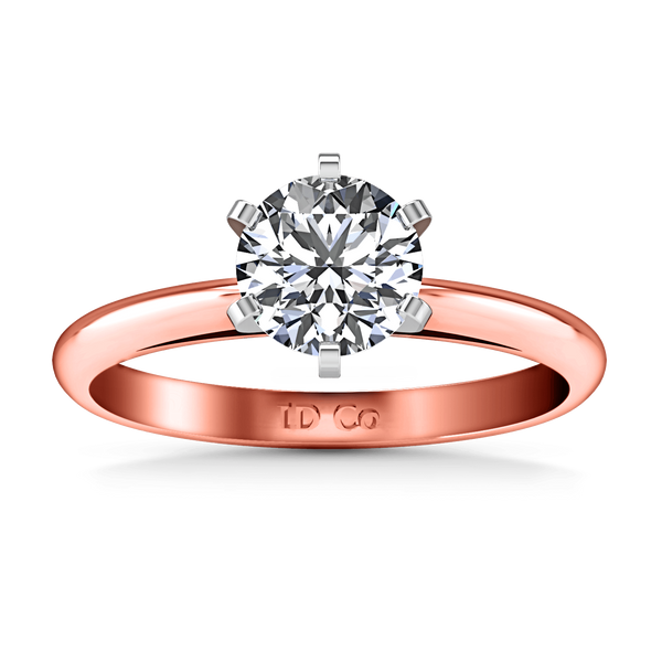 Solitaire Diamond Engagement Ring Cathedral 6 Prong 14K Rose Gold