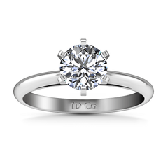 Round Diamond Solitaire Engagement Ring Cathedral 6 Prong 14K White Gold engagement rings imaginediamonds