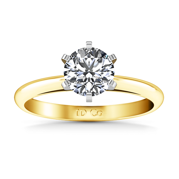 Solitaire Diamond Engagement Ring Cathedral 6 Prong 14K Yellow Gold
