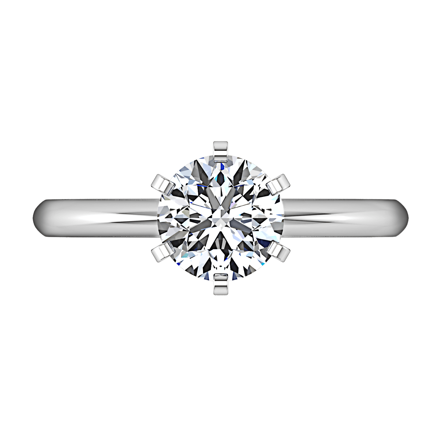 Round Diamond Solitaire Engagement Ring Cathedral 6 Prong 14k White  Gold