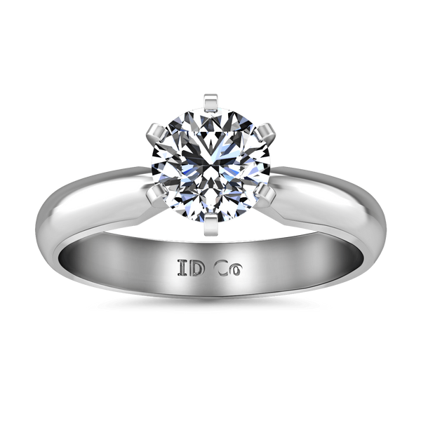 Round Diamond Solitaire Engagement Ring Wide Classic 6 Prong 14K White Gold
