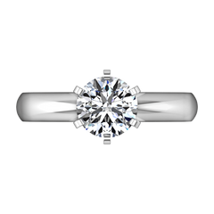 Round Diamond Solitaire Engagement Ring Wide Classic 6 Prong 14K White Gold engagement rings imaginediamonds
