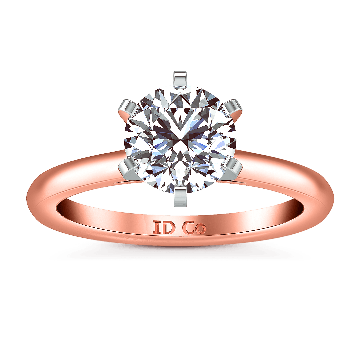 Solitaire Diamond Engagement Ring Petite Cathedral 14k Rose Gold