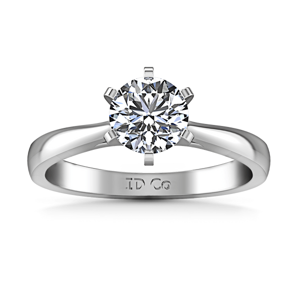 Round Diamond Solitaire Engagement Ring Tapered And Arched 14K White Gold