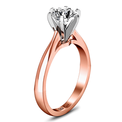 Solitaire Diamond Engagement Ring Tapered And Arched 14K Rose Gold