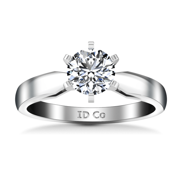 Round Diamond Solitaire Engagement Ring Wide Tappered 14K White Gold