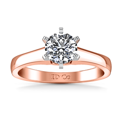 Solitaire Diamond Engagement Ring Stylized 6 Prong 14K Rose Gold