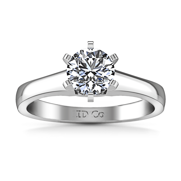 Round Diamond Solitaire Engagement Ring Stylized 6 Prong 14K White Gold