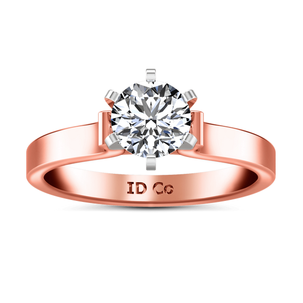 Solitaire Diamond Engagement Ring Curved Shoulder 14K Rose Gold