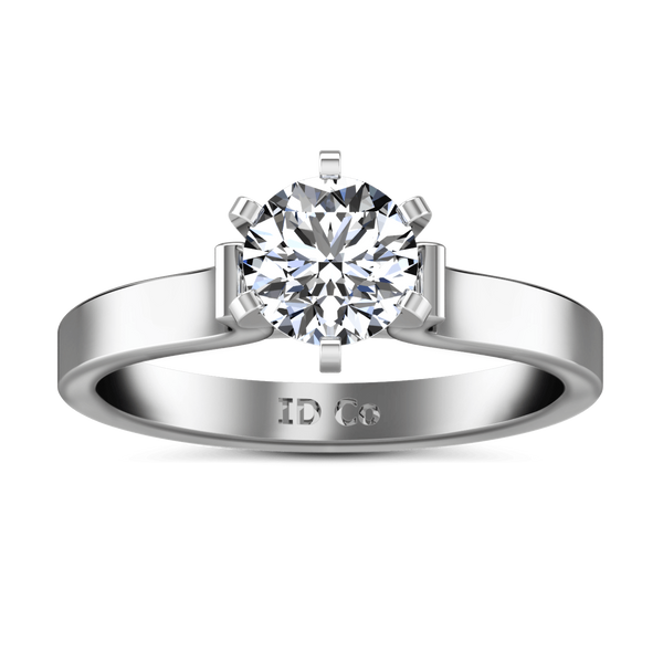 Round Diamond Solitaire Engagement Ring Curved Shoulder 14K White Gold