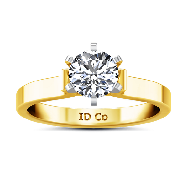 Solitaire Diamond Engagement Ring Curved Shoulder 14K Yellow Gold
