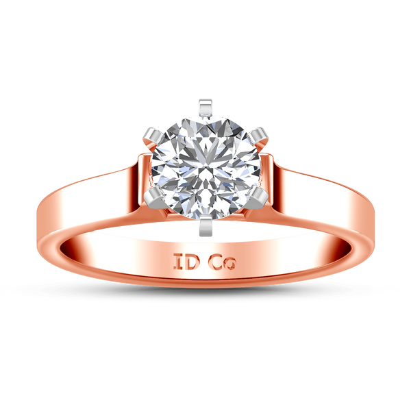 Solitaire Diamond Engagement Ring Modern 14K Rose Gold