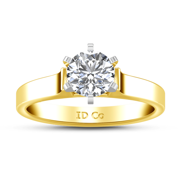 Solitaire Diamond Engagement Ring Modern 14K Yellow Gold