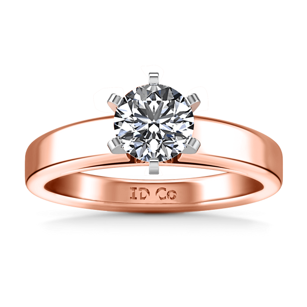 Solitaire Diamond Engagement Ring 6 Prong Contemporary 14K Rose Gold