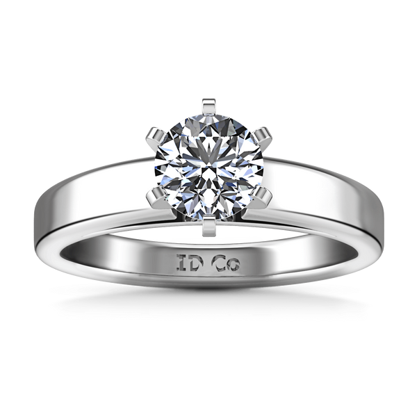 Round Diamond Solitaire Engagement Ring 6 Prong Contemporary 14K White Gold