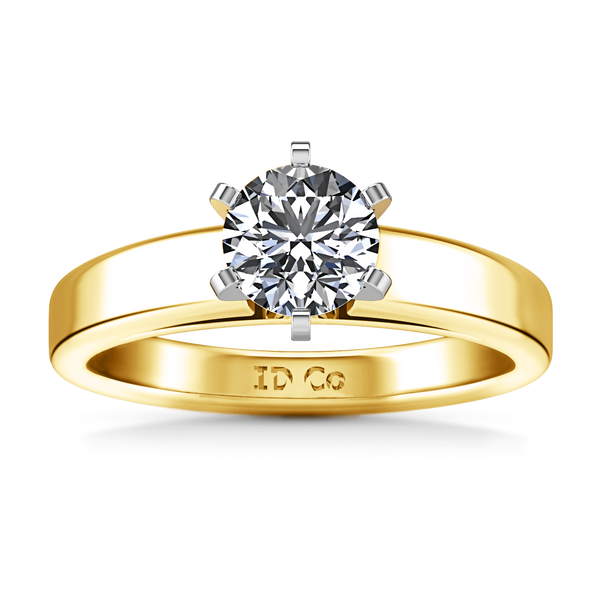Solitaire Diamond Engagement Ring 6 Prong Contemporary 14K Yellow Gold