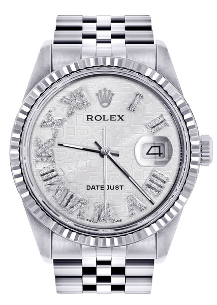 Mens Rolex Datejust Watch 16200  | 36Mm | White Textured Roman Numeral Dial | Jubilee Band