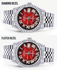 Diamond Mens Rolex Datejust Watch 16200 | 36Mm | Red Black Roman Numeral Dial | Jubilee Band