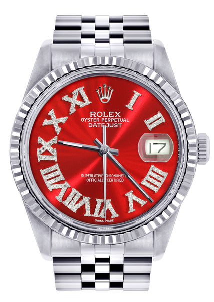 Mens Rolex Datejust Watch 16200  | 36Mm | Red Roman Numeral Dial | Jubilee Band