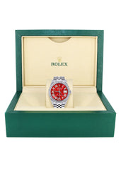 Diamond Mens  Rolex Datejust Watch 16200 | 36Mm | Red Roman Numeral Dial | Jubilee Band