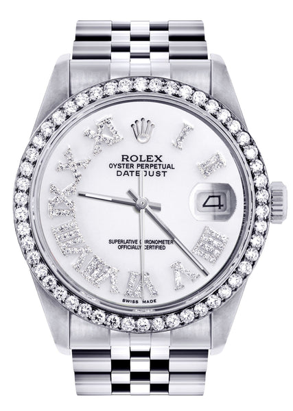Womens Rolex Datejust Watch 16200 | 36Mm | White Roman Numeral Dial | Jubilee Band
