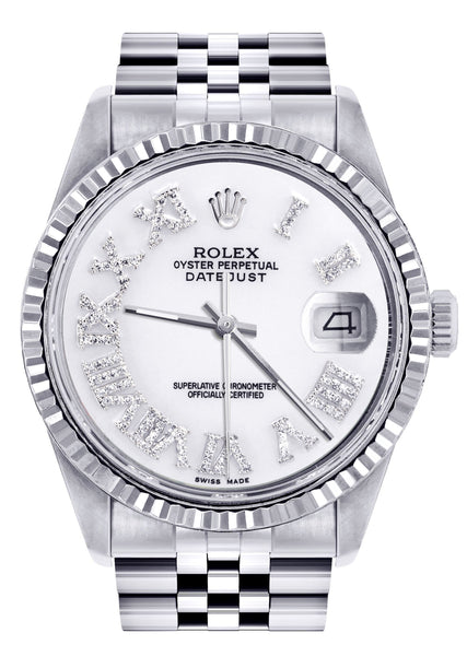 Mens Rolex Datejust Watch 16200  | 36Mm | White Roman Numeral Dial | Jubilee Band