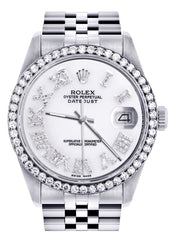 Diamond Mens Rolex Datejust Watch 16200 | 36Mm | White Roman Numeral Dial | Jubilee Band