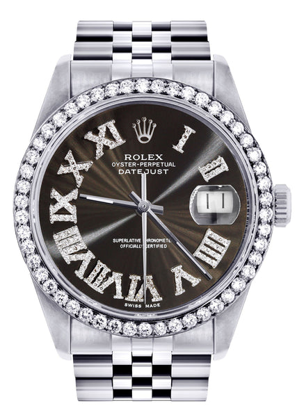 Diamond Mens Rolex Datejust Watch 16200 | 36Mm | Custom Dark Brown Roman Numeral Dial | Jubilee Band