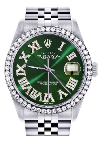 Diamond Mens  Rolex Datejust Watch 16200 | 36Mm | Custom Green Roman Numeral Dial | Jubilee Band
