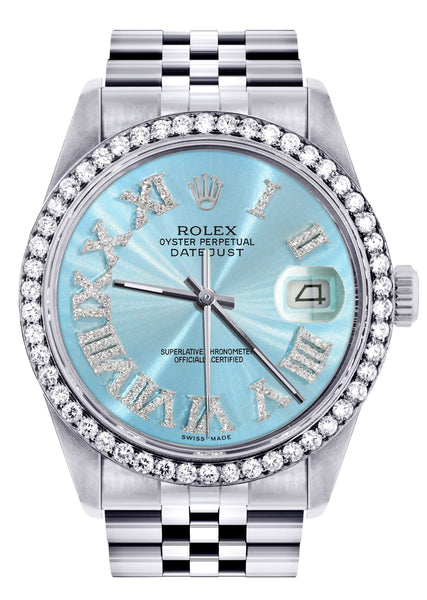 Diamond Mens Rolex Datejust Watch 16200 | 36Mm | Light Blue Roman Numeral Dial | Jubilee Band