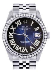 Diamond Mens Rolex Datejust Watch 16200 | 36Mm | Blue Black Roman Numeral Dial | Jubilee Band