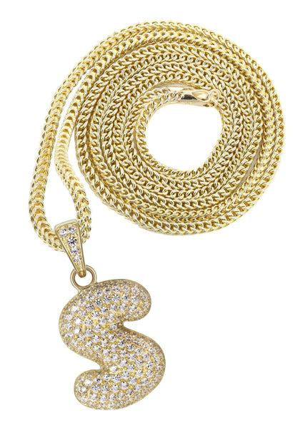 "10K Yellow Gold Franco Chain & Bubble Letter ""S"" Cz Pendant 