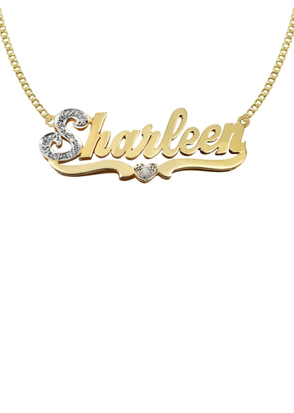 14K Ladies Two Tone  Name Plate Necklace | Appx. 10 Grams