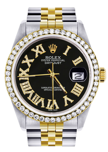 Gold & Steel Rolex Datejust Watch 16233 for Men | 36Mm | Black Roman Dial | Jubilee Band