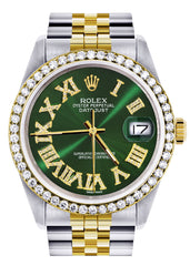 Gold & Steel Rolex Datejust Watch 16233 for Men | 36Mm | Green Roman Dial | Jubilee Band