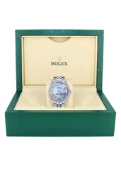 Diamond Mens Rolex Datejust Watch 16200 | 36Mm | Blue Mother Of Pearl Roman Numeral Dial | Jubilee Band