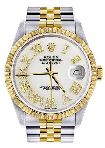 Mens Rolex Datejust Watch 16233 Two Tone | 36Mm | White Roman Dial | Jubilee Band