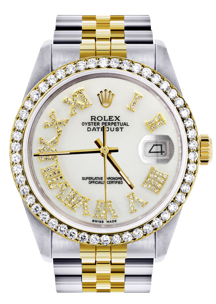 Gold & Steel Rolex Datejust Watch 16233 for Men | 36Mm | White Roman Dial | Jubilee Band