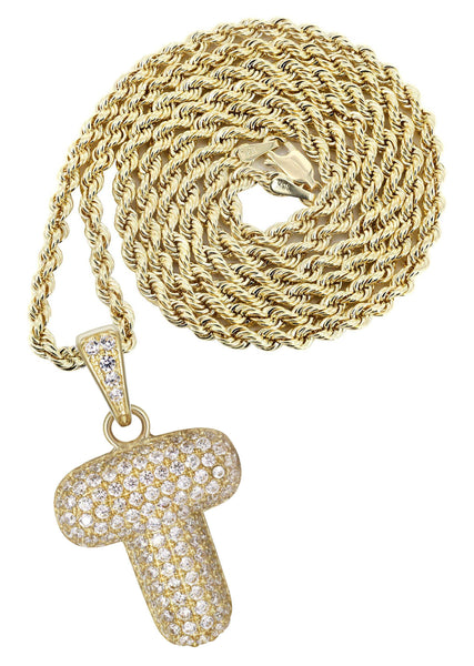 "10K Yellow Gold Rope Chain & Bubble Letter ""T"" Cz Pendant 