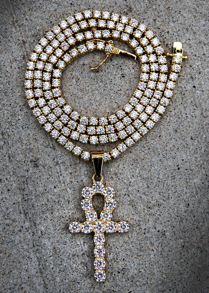 Gold Plated Iced Out Ankh & Tennis Chain ( 3 MM )