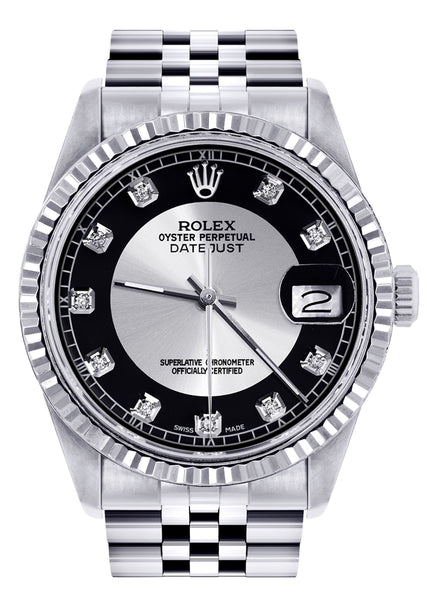 Mens Rolex Datejust Watch 16200  | 36Mm | Tuxedo Dial | Jubilee Band