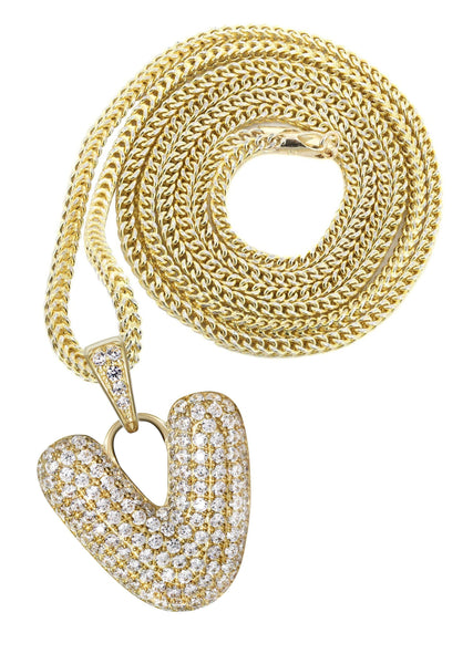 "10K Yellow Gold Franco Chain & Bubble Letter ""V"" Cz Pendant 