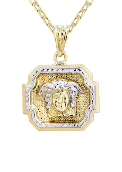 10K Gold Cuban Link Chain & Gold Versace Style Pendant | 3.95 Grams