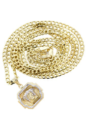 10K Gold Cuban Link Chain & Gold Versace Style Pendant | 3.95 Grams chain & pendant FROST NYC