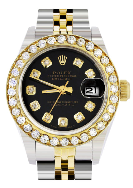 Womens Diamond Gold Rolex Watch | 1 Carat Bezel | 26Mm | Black Dial | Jubilee Band