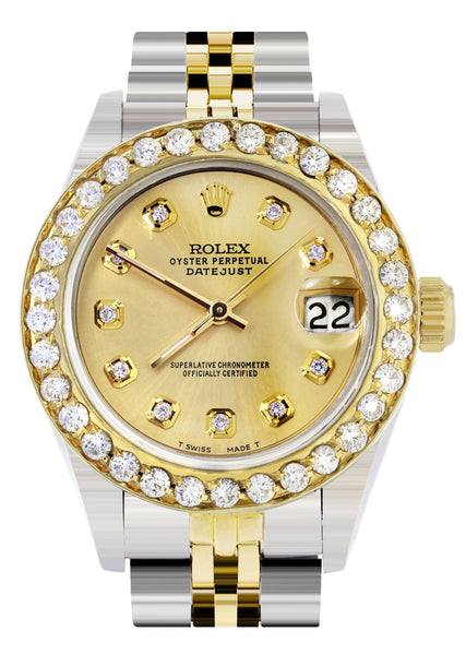 Womens Diamond Gold Rolex Watch | 1 Carat Bezel | 26Mm | Gold Dial | Jubilee Band