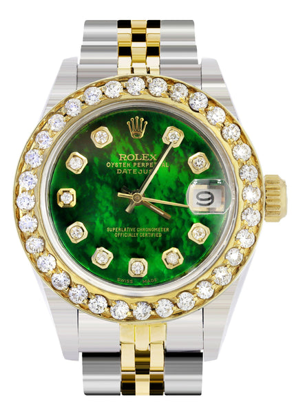 Womens Diamond Gold Rolex Watch | 1 Carat Bezel | 26Mm | Green Pearl Dial | Jubilee Band