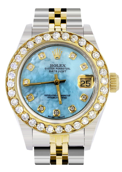 Womens Diamond Gold Rolex Watch | 1 Carat Bezel | 26Mm | Blue Pearl Dial | Jubilee Band